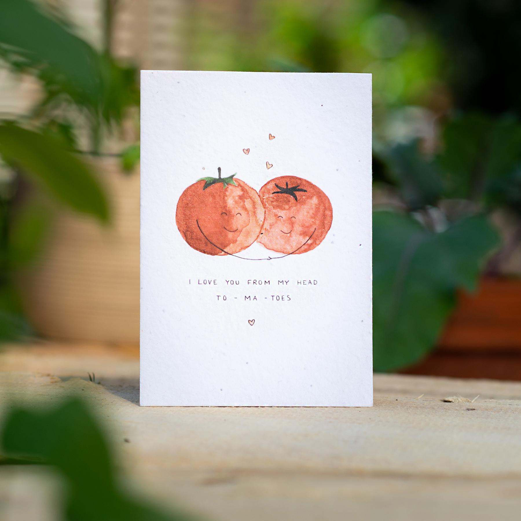 "Gewinnerkarte Wachsende Kunst 2021 ""I love you from my head to-ma-toes"" Tomaten"