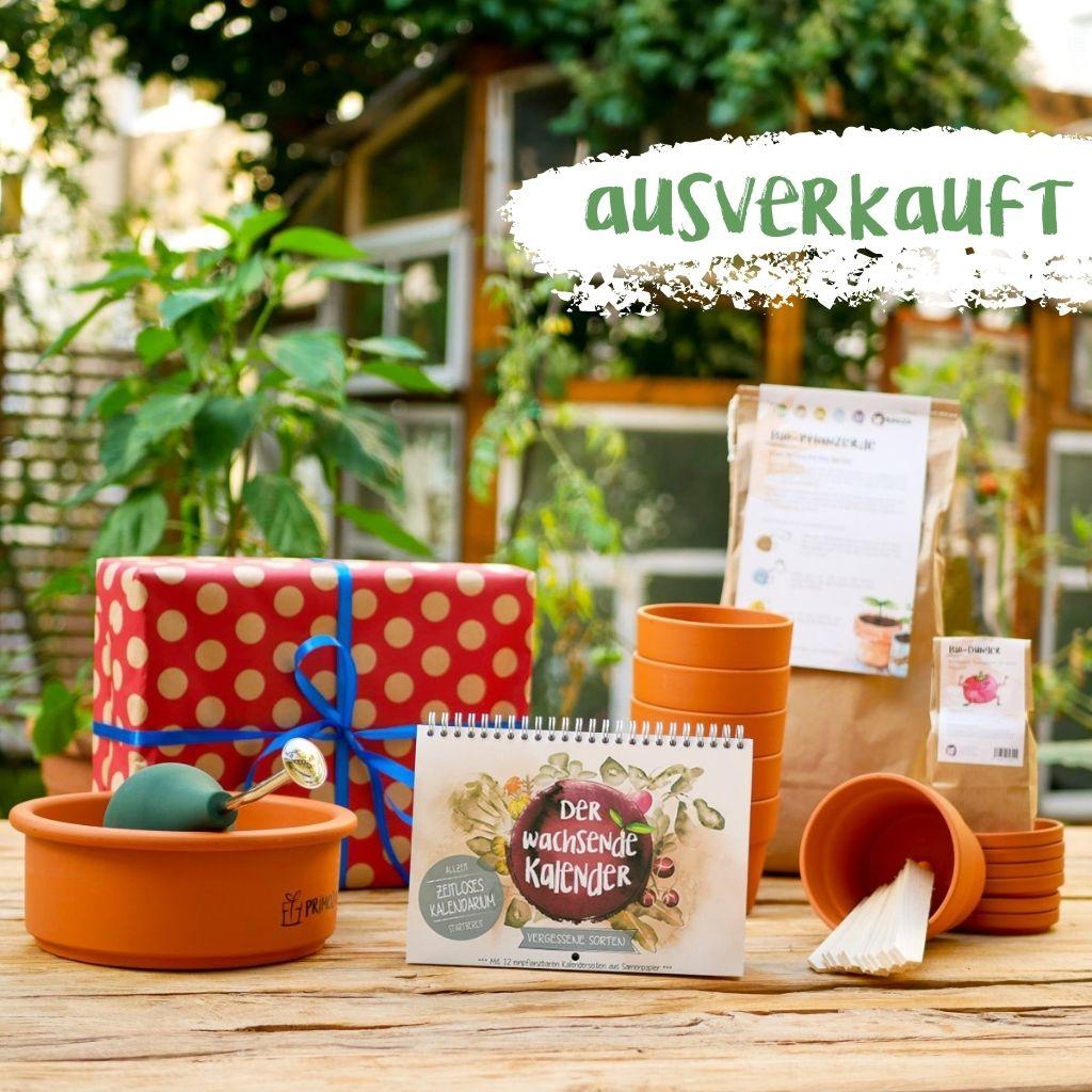 Geschenkset aus Einpflanzhilfen wie Tontöpfen, Bio-Erde und Dünger und einem Wachsenden Kalender Vergessene Sorten. Alles steht ausgestellt auf einem Holztisch im Garten.