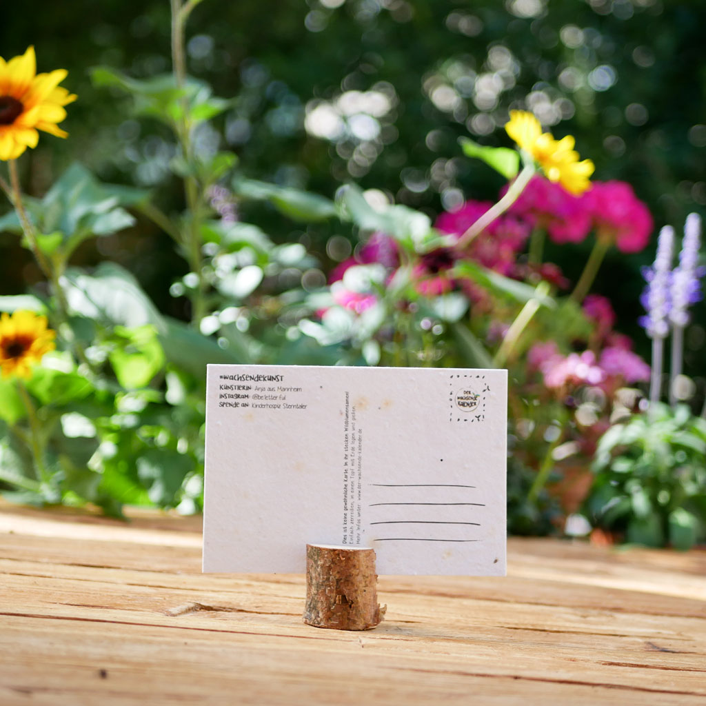 Rückseite einpflanzbare Postkarte aus Samenpapier. Karte für den guten Zweck