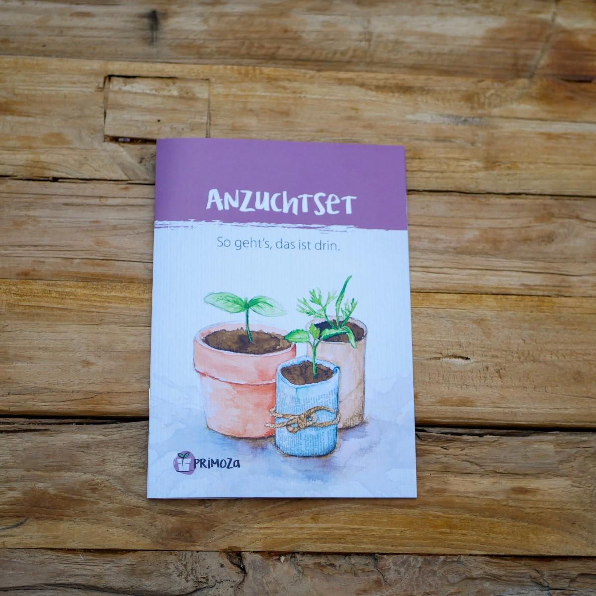 Titelseite der Einpflanzbroschüre von primoza, die zum Anzuchtset gehört.