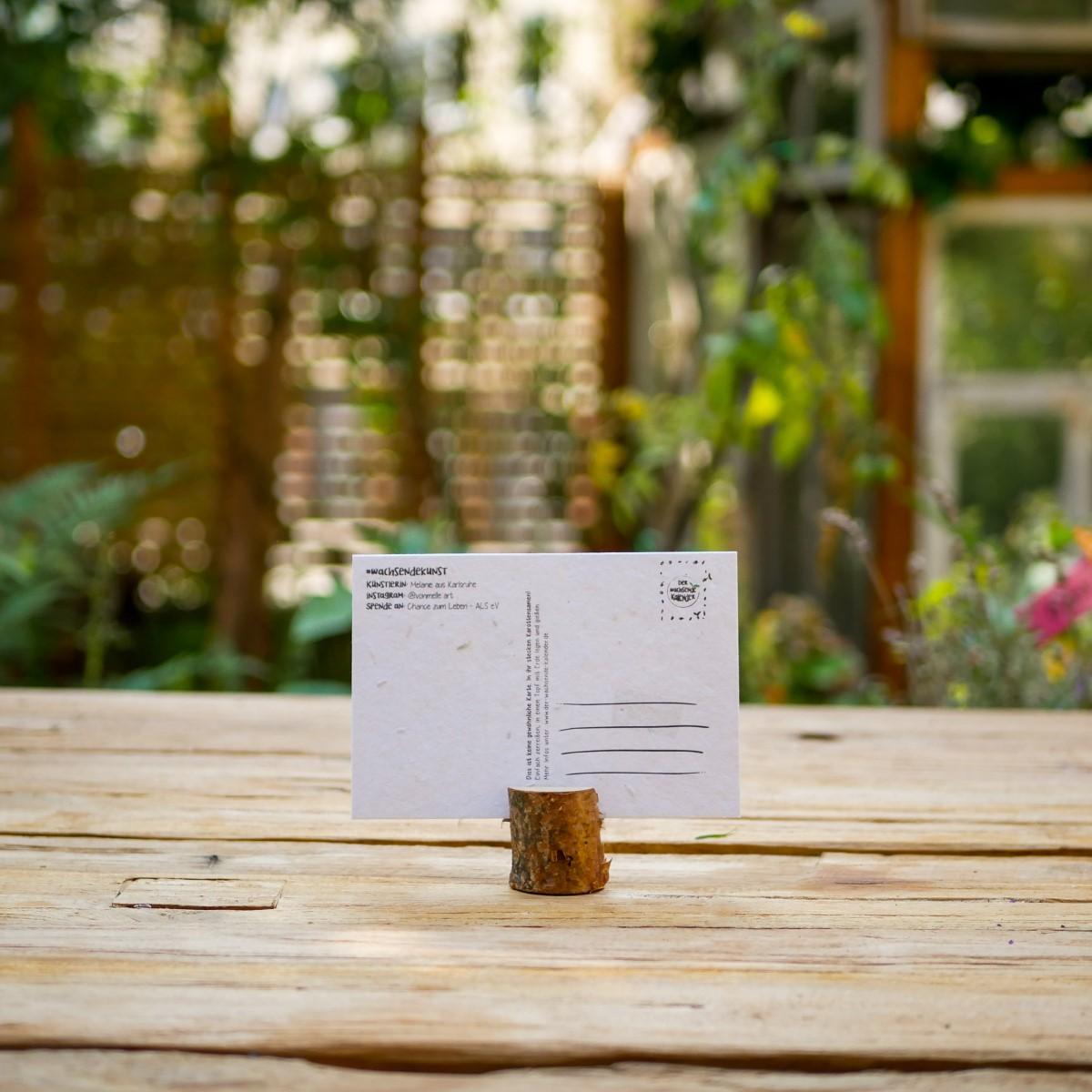 Einpflanzbare Postkarte aus Samenpapier für den guten Zweck