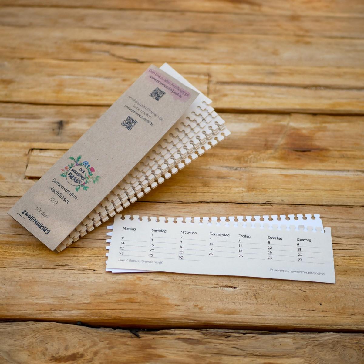 Samenstreifen-Kalendarium aus Samenpapier für den einpflanzbaren Kalender Zwölfmalklug. Für Gemüseanbau auf dem Balkon und im Garten. Zero Waste