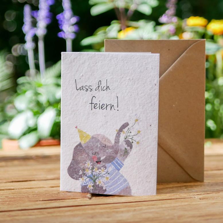 Einpflanzbare Klappkarte aus Samenpapier mit handgezeichnetem Elefantenmotiv. Karte für Geburtstag. Mit Umschlag aus Graspapier