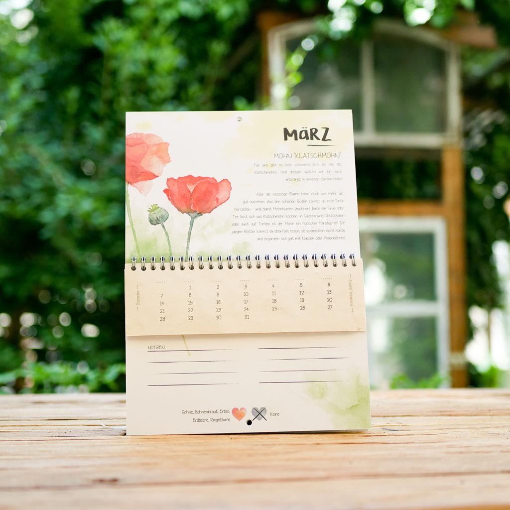 März Kalenderblatt im einpflanzbaren Kalender Tausendsassa zeitlos: samenfestes Bio-Saatgut für Mohnblume im Samenpapier